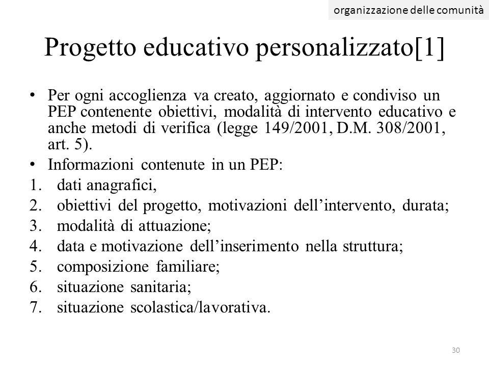 Progetto educativo personalizzato[1] Per ogni accoglienza va creato, aggiornato e condiviso un PEP contenente obiettivi, modalità di intervento educat