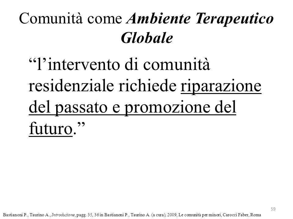 """Comunità come Ambiente Terapeutico Globale """"l'intervento di comunità residenziale richiede riparazione del passato e promozione del futuro."""" 59 Bastia"""