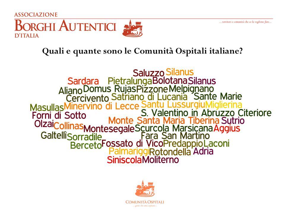 Quali e quante sono le Comunità Ospitali italiane?
