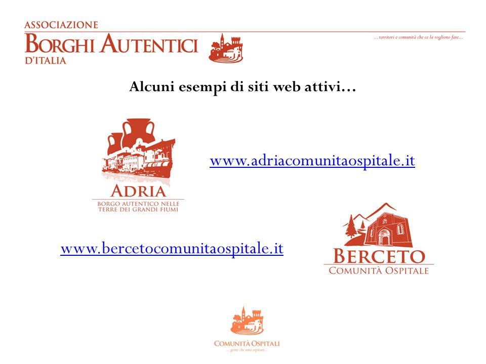 Alcuni esempi di siti web attivi… www.adriacomunitaospitale.it www.bercetocomunitaospitale.it