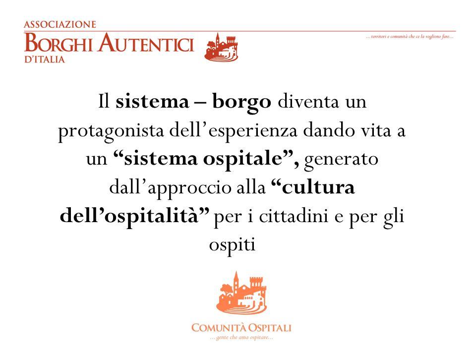Il sistema – borgo diventa un protagonista dell'esperienza dando vita a un sistema ospitale , generato dall'approccio alla cultura dell'ospitalità per i cittadini e per gli ospiti