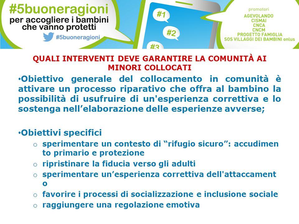 QUALI INTERVENTI DEVE GARANTIRE LA COMUNITÀ AI MINORI COLLOCATI Obiettivo generale del collocamento in comunità è attivare un processo riparativo che