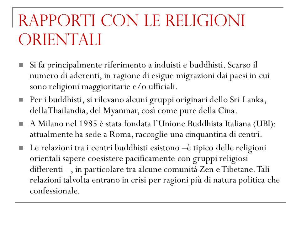 Rapporti con le religioni orientali Si fa principalmente riferimento a induisti e buddhisti. Scarso il numero di aderenti, in ragione di esigue migraz