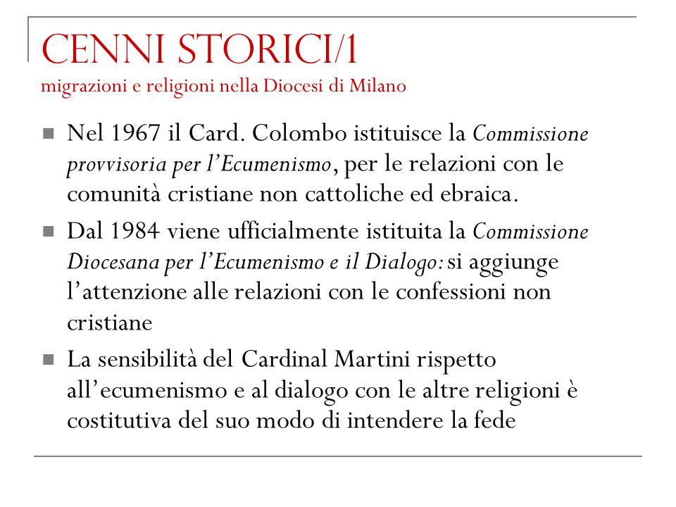 Cenni storici/1 migrazioni e religioni nella Diocesi di Milano Nel 1967 il Card. Colombo istituisce la Commissione provvisoria per l'Ecumenismo, per l