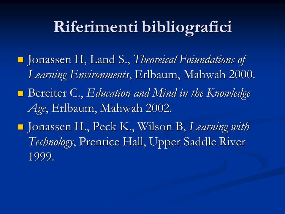 Riferimenti bibliografici Jonassen H, Land S., Theoreical Foiundations of Learning Environments, Erlbaum, Mahwah 2000. Jonassen H, Land S., Theoreical