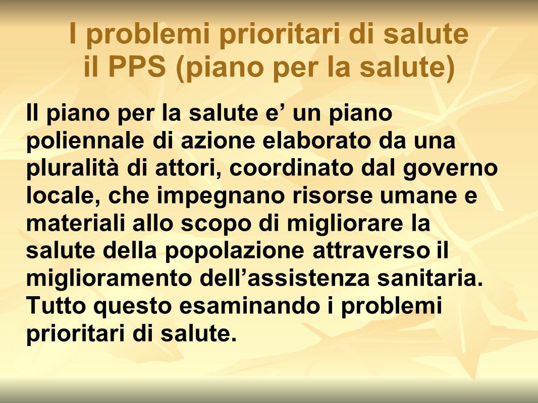 I problemi prioritari di salute il PPS (piano per la salute) Il piano per la salute e' un piano poliennale di azione elaborato da una pluralità di att