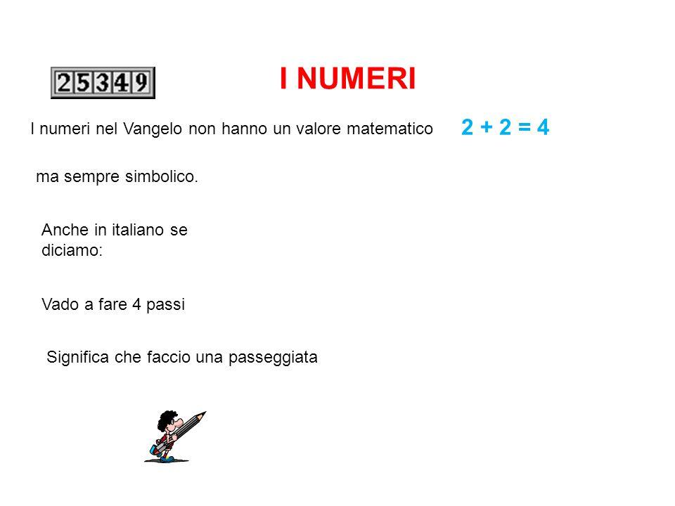 I NUMERI I numeri nel Vangelo non hanno un valore matematico 2 + 2 = 4 ma sempre simbolico.