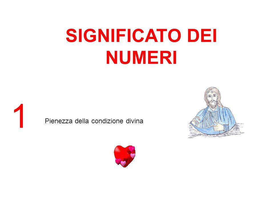 SIGNIFICATO DEI NUMERI 1 Pienezza della condizione divina