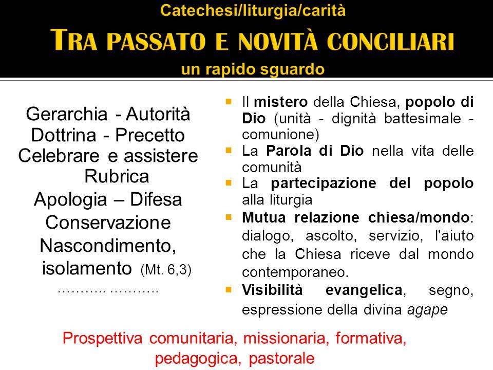 Gerarchia - Autorità Dottrina - Precetto Celebrare e assistere Rubrica Apologia – Difesa Conservazione Nascondimento, isolamento (Mt.