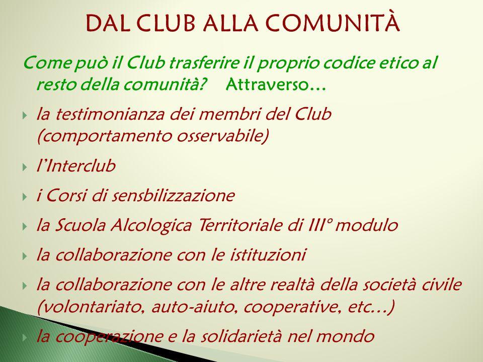 Come può il Club trasferire il proprio codice etico al resto della comunità? Attraverso…  la testimonianza dei membri del Club (comportamento osserva