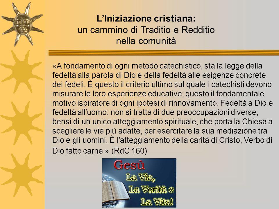 L'Iniziazione cristiana: un cammino di Traditio e Redditio nella comunità «A fondamento di ogni metodo catechistico, sta la legge della fedeltà alla p