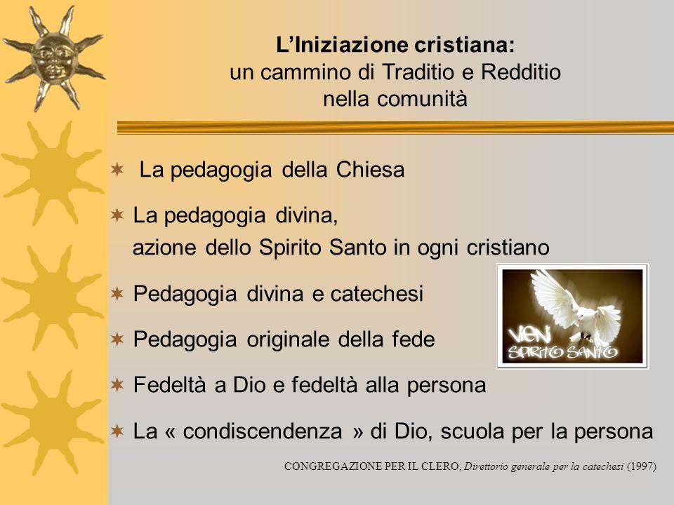 L'Iniziazione cristiana: un cammino di Traditio e Redditio nella comunità  La pedagogia della Chiesa  La pedagogia divina, azione dello Spirito Sant