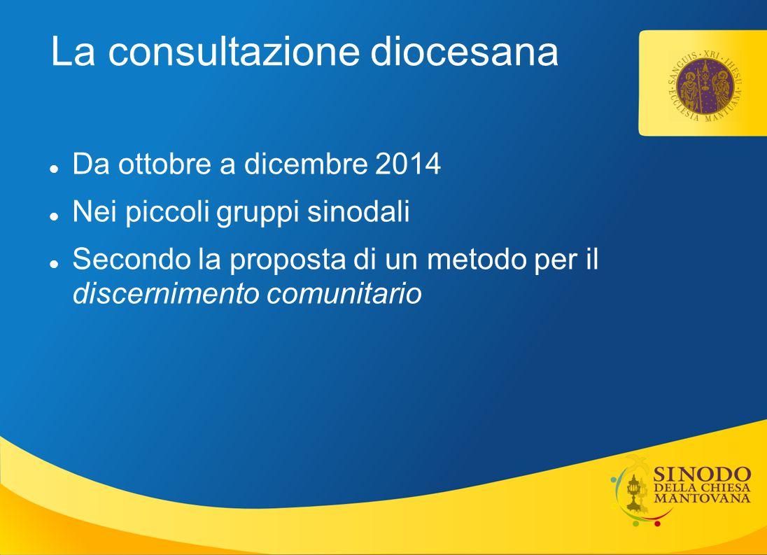 La consultazione diocesana Da ottobre a dicembre 2014 Nei piccoli gruppi sinodali Secondo la proposta di un metodo per il discernimento comunitario