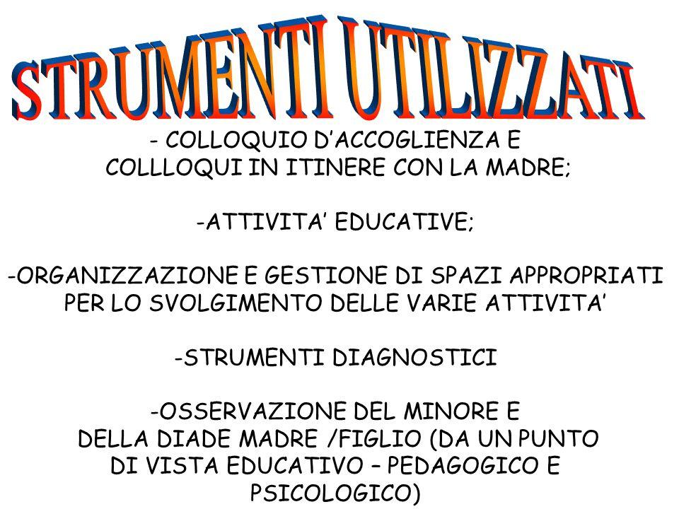 - COLLOQUIO D'ACCOGLIENZA E COLLLOQUI IN ITINERE CON LA MADRE; -ATTIVITA' EDUCATIVE; -ORGANIZZAZIONE E GESTIONE DI SPAZI APPROPRIATI PER LO SVOLGIMENT