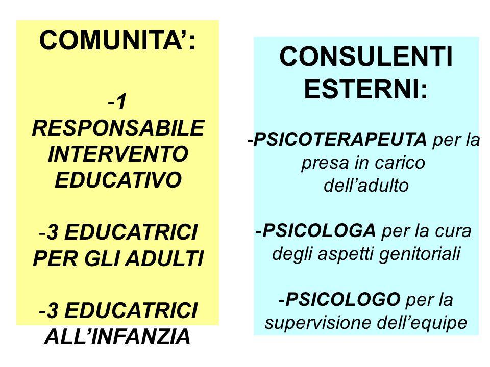 COMUNITA': -1 RESPONSABILE INTERVENTO EDUCATIVO -3 EDUCATRICI PER GLI ADULTI -3 EDUCATRICI ALL'INFANZIA CONSULENTI ESTERNI: -PSICOTERAPEUTA per la pre