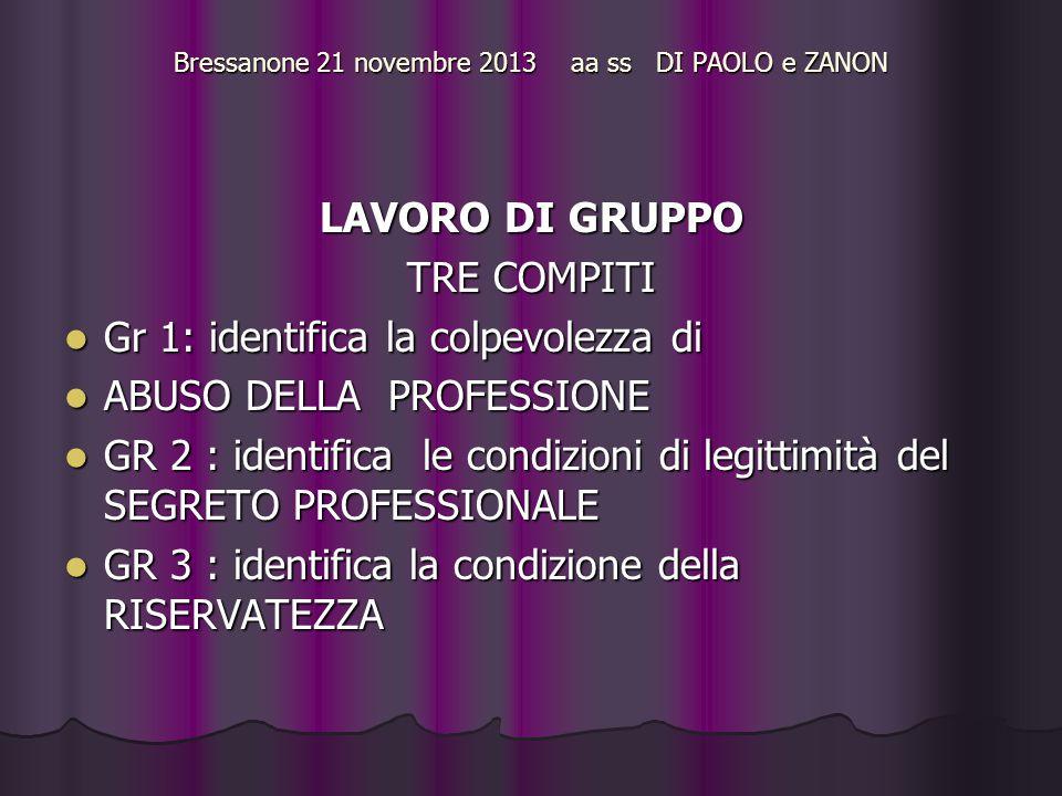 Bressanone 21 novembre 2013 aa ss DI PAOLO e ZANON LAVORO DI GRUPPO TRE COMPITI Gr 1: identifica la colpevolezza di Gr 1: identifica la colpevolezza di ABUSO DELLA PROFESSIONE ABUSO DELLA PROFESSIONE GR 2 : identifica le condizioni di legittimità del SEGRETO PROFESSIONALE GR 2 : identifica le condizioni di legittimità del SEGRETO PROFESSIONALE GR 3 : identifica la condizione della RISERVATEZZA GR 3 : identifica la condizione della RISERVATEZZA