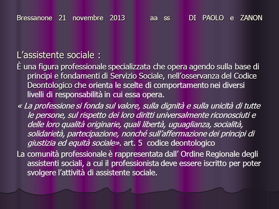 Bressanone 21 novembre 2013 aa ss DI PAOLO e ZANON L'assistente sociale : È una figura professionale specializzata che opera agendo sulla base di prin