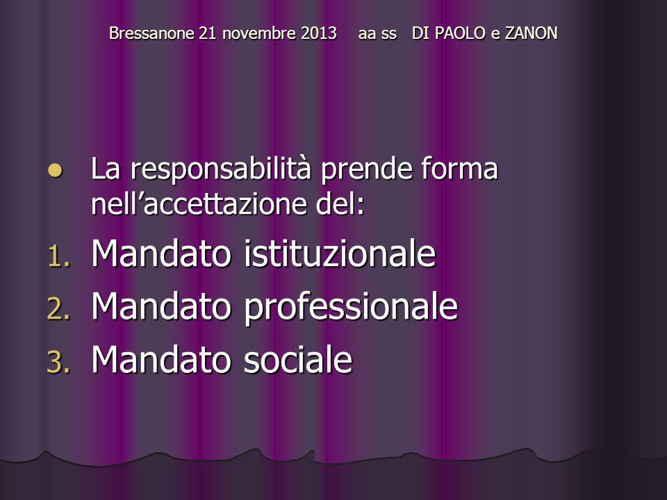 Bressanone 21 novembre 2013 aa ss DI PAOLO e ZANON La responsabilità prende forma nell'accettazione del: La responsabilità prende forma nell'accettazione del: 1.
