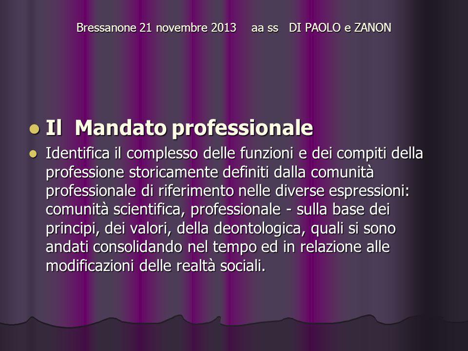 Bressanone 21 novembre 2013 aa ss DI PAOLO e ZANON Il Mandato professionale Il Mandato professionale Identifica il complesso delle funzioni e dei comp
