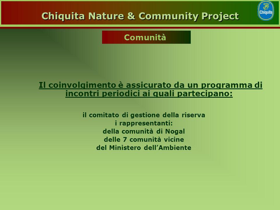 Il coinvolgimento è assicurato da un programma di incontri periodici ai quali partecipano: il comitato di gestione della riserva i rappresentanti: della comunità di Nogal delle 7 comunità vicine del Ministero dell'Ambiente Comunità Chiquita Nature & Community Project