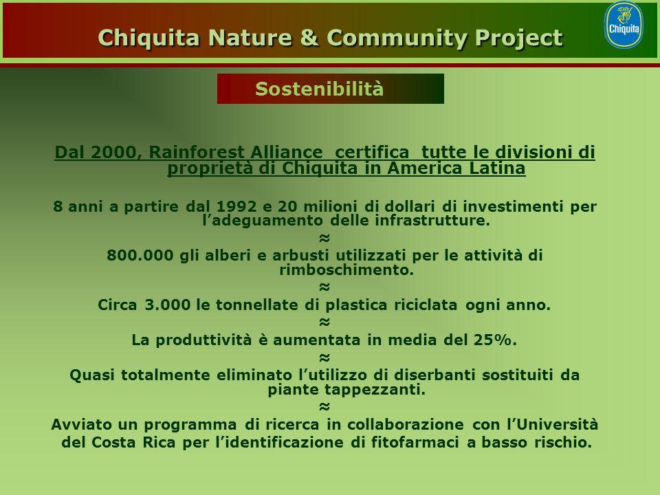 Dal 2000, Rainforest Alliance certifica tutte le divisioni di proprietà di Chiquita in America Latina 8 anni a partire dal 1992 e 20 milioni di dollari di investimenti per l'adeguamento delle infrastrutture.