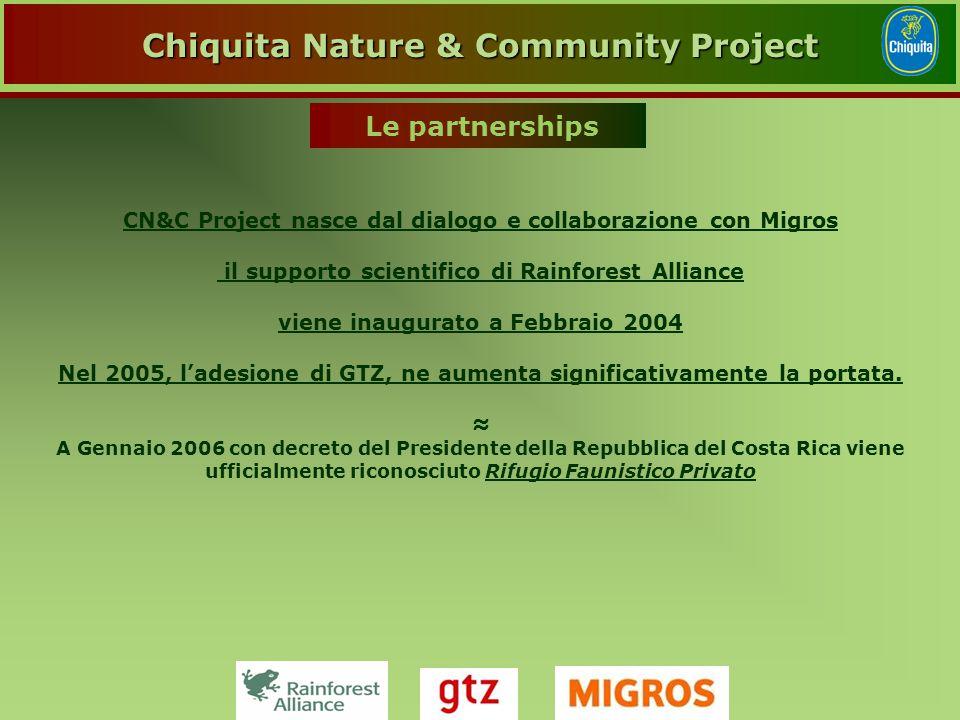 CN&C Project nasce dal dialogo e collaborazione con Migros il supporto scientifico di Rainforest Alliance viene inaugurato a Febbraio 2004 Nel 2005, l'adesione di GTZ, ne aumenta significativamente la portata.