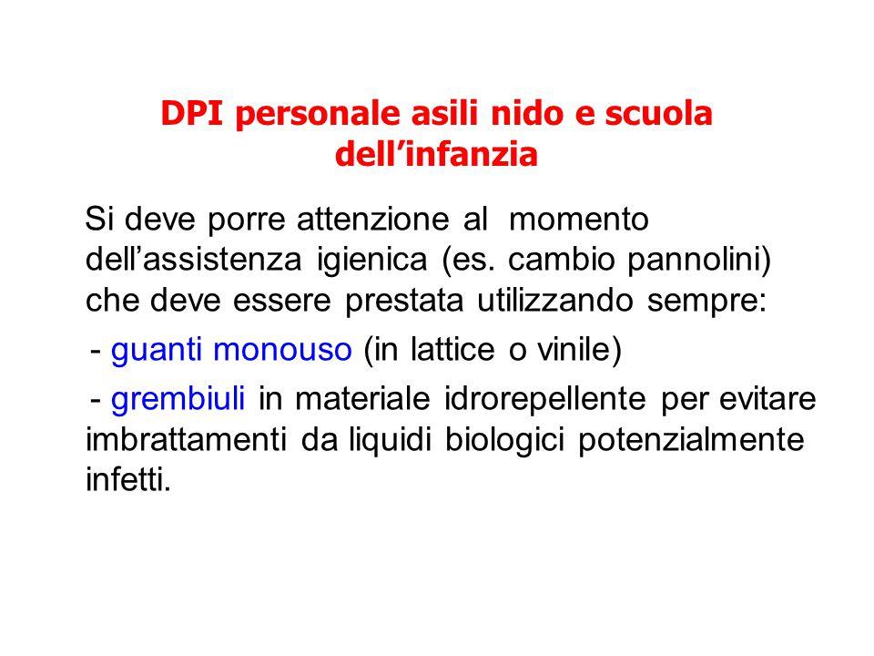 DPI personale asili nido e scuola dell'infanzia Si deve porre attenzione al momento dell'assistenza igienica (es. cambio pannolini) che deve essere pr
