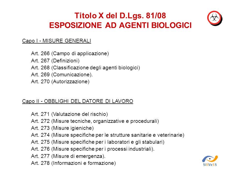 Titolo X del D.Lgs. 81/08 ESPOSIZIONE AD AGENTI BIOLOGICI SiRVeSS Capo I - MISURE GENERALI Art. 266 (Campo di applicazione) Art. 267 (Definizioni) Art