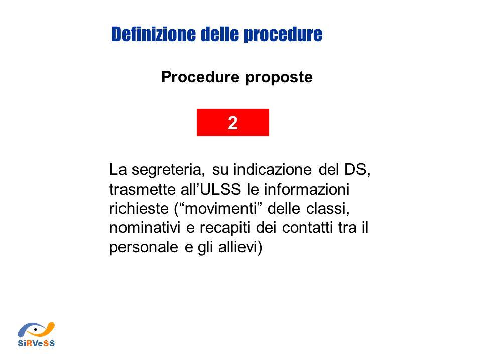 Procedure proposte 2 La segreteria, su indicazione del DS, trasmette all'ULSS le informazioni richieste ( movimenti delle classi, nominativi e recapiti dei contatti tra il personale e gli allievi) Definizione delle procedure SiRVeSS