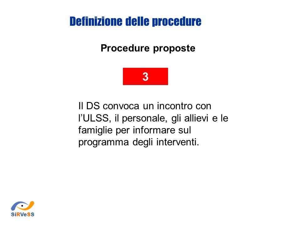 Procedure proposte 3 Il DS convoca un incontro con l'ULSS, il personale, gli allievi e le famiglie per informare sul programma degli interventi. Defin