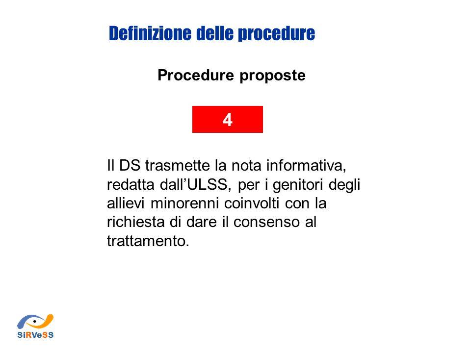 Procedure proposte 4 Il DS trasmette la nota informativa, redatta dall'ULSS, per i genitori degli allievi minorenni coinvolti con la richiesta di dare il consenso al trattamento.