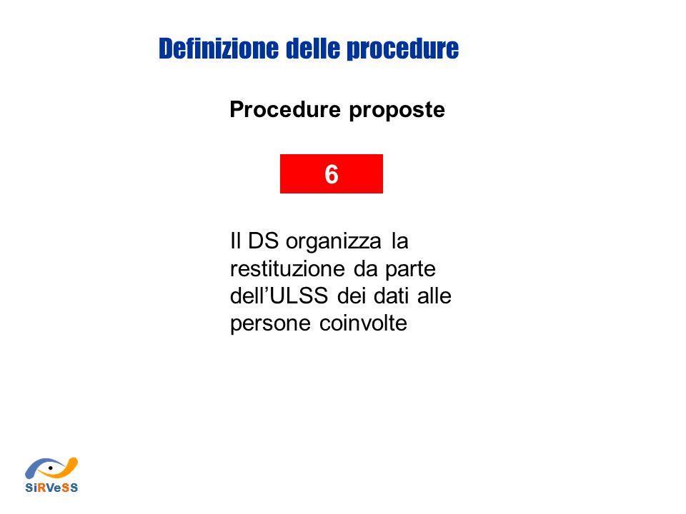Procedure proposte 6 Il DS organizza la restituzione da parte dell'ULSS dei dati alle persone coinvolte Definizione delle procedure SiRVeSS