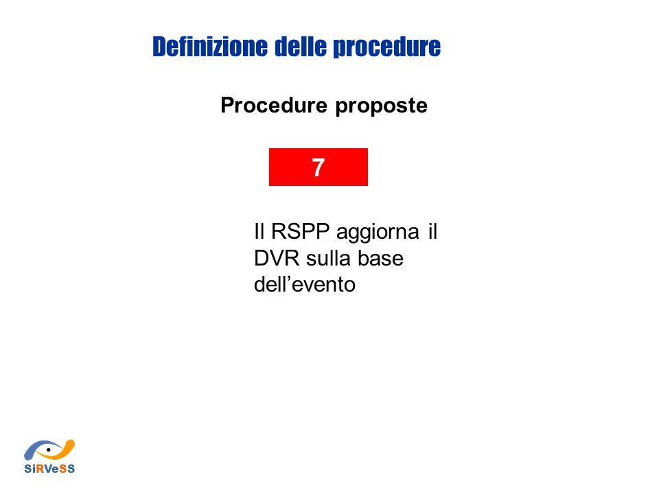 Procedure proposte 7 Il RSPP aggiorna il DVR sulla base dell'evento Definizione delle procedure SiRVeSS