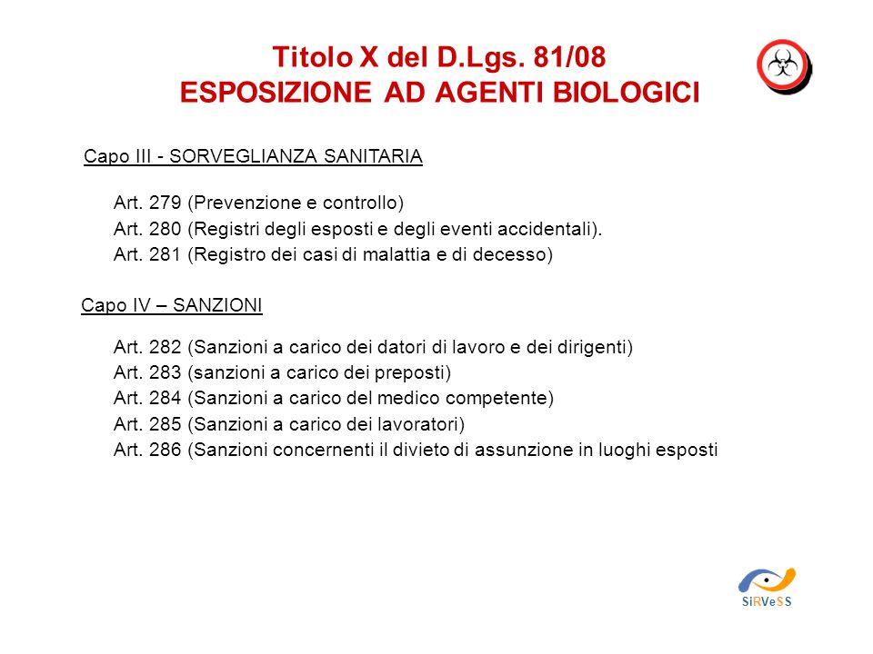 Titolo X del D.Lgs. 81/08 ESPOSIZIONE AD AGENTI BIOLOGICI SiRVeSS Capo III - SORVEGLIANZA SANITARIA Art. 279 (Prevenzione e controllo) Art. 280 (Regis