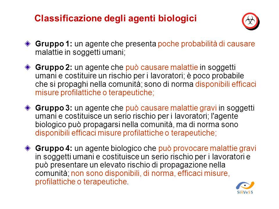 Classificazione degli agenti biologici SiRVeSS Gruppo 1: un agente che presenta poche probabilità di causare malattie in soggetti umani; Gruppo 2: un