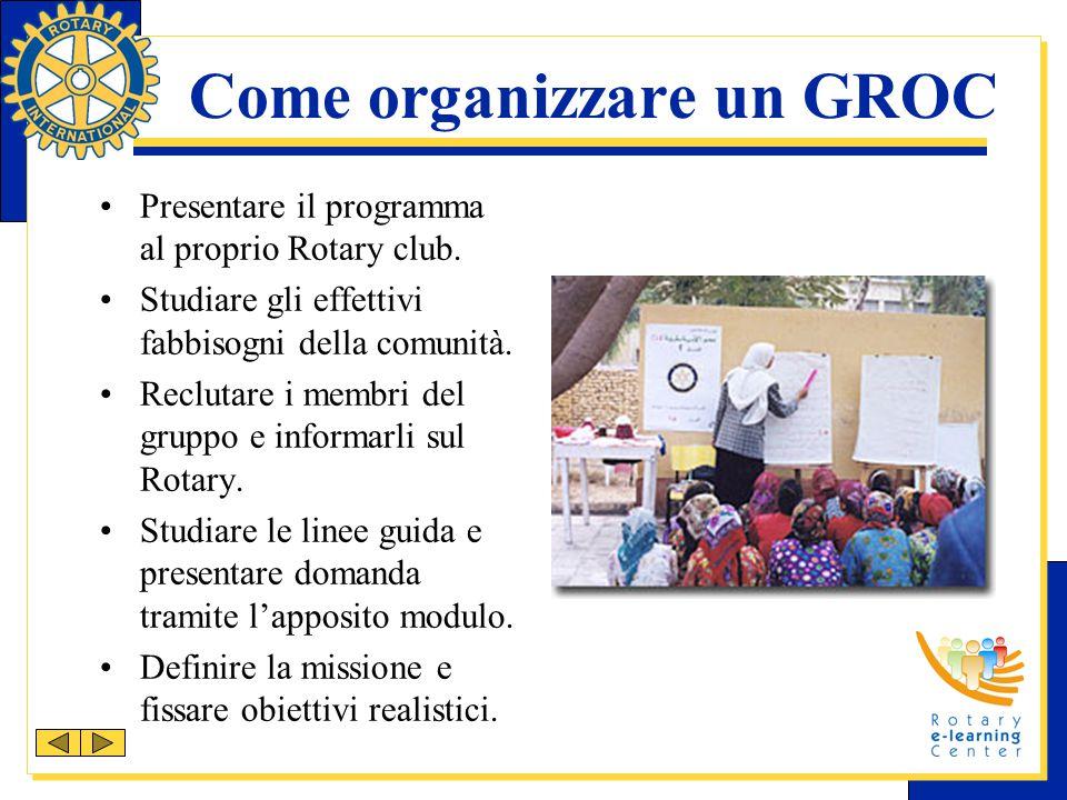 Come organizzare un GROC Presentare il programma al proprio Rotary club. Studiare gli effettivi fabbisogni della comunità. Reclutare i membri del grup