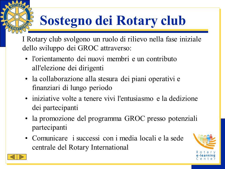 Sostegno dei Rotary club I Rotary club svolgono un ruolo di rilievo nella fase iniziale dello sviluppo dei GROC attraverso: l'orientamento dei nuovi m
