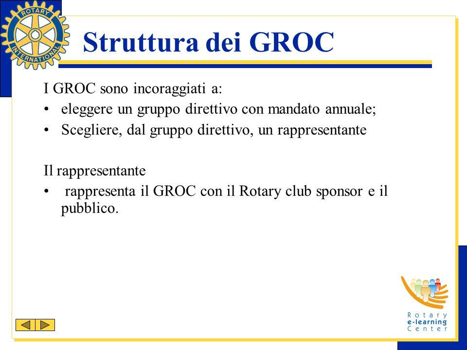 Struttura dei GROC I GROC sono incoraggiati a: eleggere un gruppo direttivo con mandato annuale; Scegliere, dal gruppo direttivo, un rappresentante Il