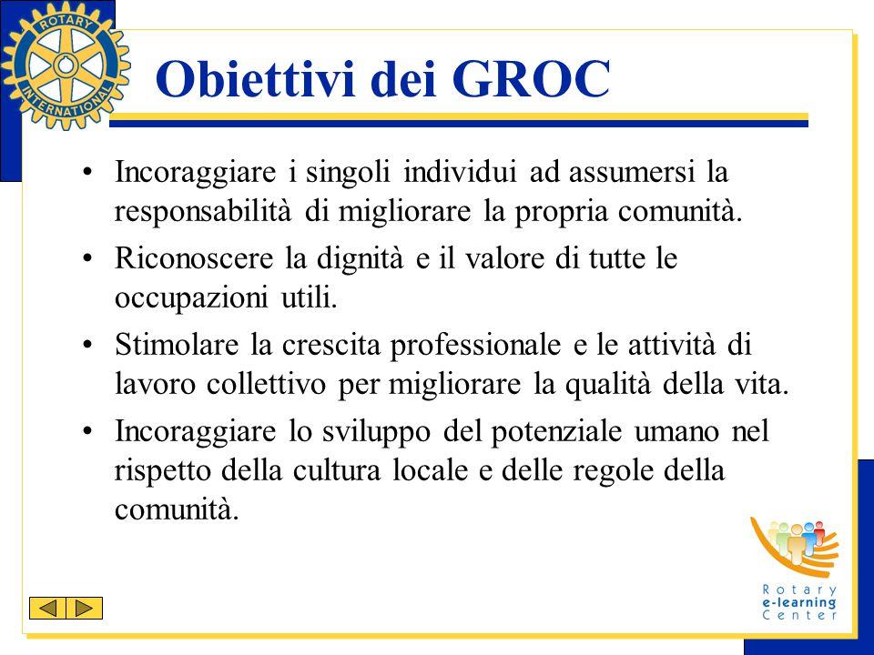 Obiettivi dei GROC Incoraggiare i singoli individui ad assumersi la responsabilità di migliorare la propria comunità. Riconoscere la dignità e il valo