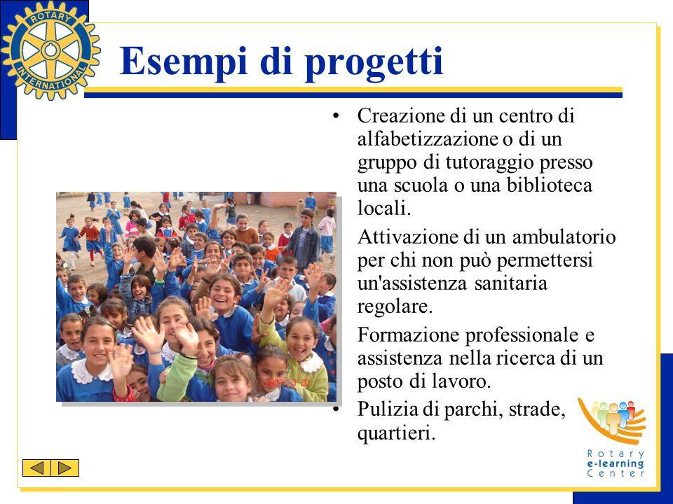 Esempi di progetti Creazione di un centro di alfabetizzazione o di un gruppo di tutoraggio presso una scuola o una biblioteca locali. Attivazione di u