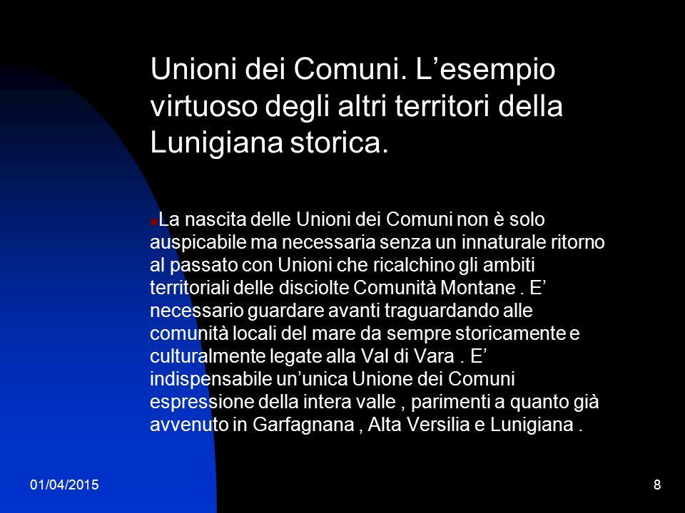 Unioni dei Comuni. L'esempio virtuoso degli altri territori della Lunigiana storica.
