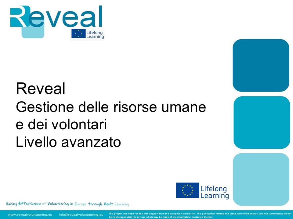 Reveal Gestione delle risorse umane e dei volontari Livello avanzato This project has been funded with support from the European Commission.