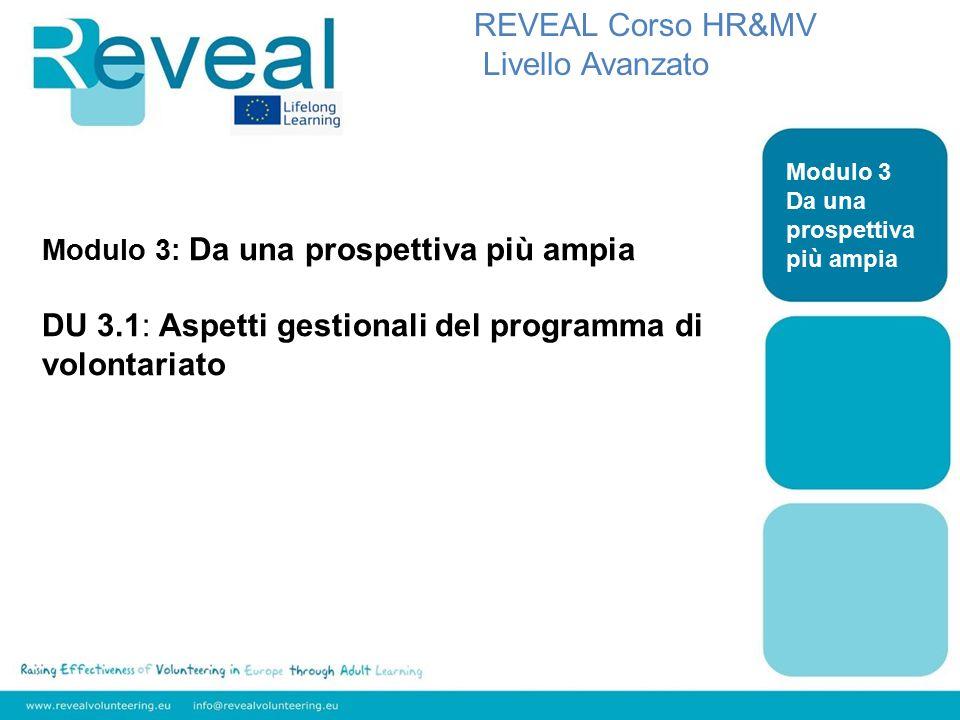 Modulo 3: Da una prospettiva più ampia DU 3.1: Aspetti gestionali del programma di volontariato REVEAL Corso HR&MV Livello Avanzato Modulo 3 Da una prospettiva più ampia