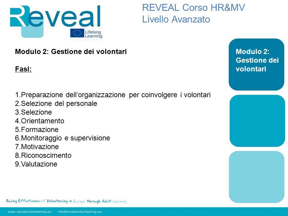 Modulo 2: Gestione dei volontari REVEAL Corso HR&MV Livello Avanzato Modulo 2: Gestione dei volontari Fasi: 1.Preparazione dell'organizzazione per coinvolgere i volontari 2.Selezione del personale 3.Selezione 4.Orientamento 5.Formazione 6.Monitoraggio e supervisione 7.Motivazione 8.Riconoscimento 9.Valutazione
