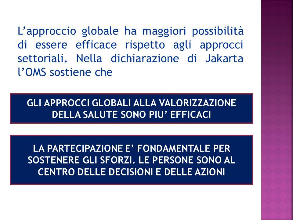 L'approccio globale ha maggiori possibilità di essere efficace rispetto agli approcci settoriali.