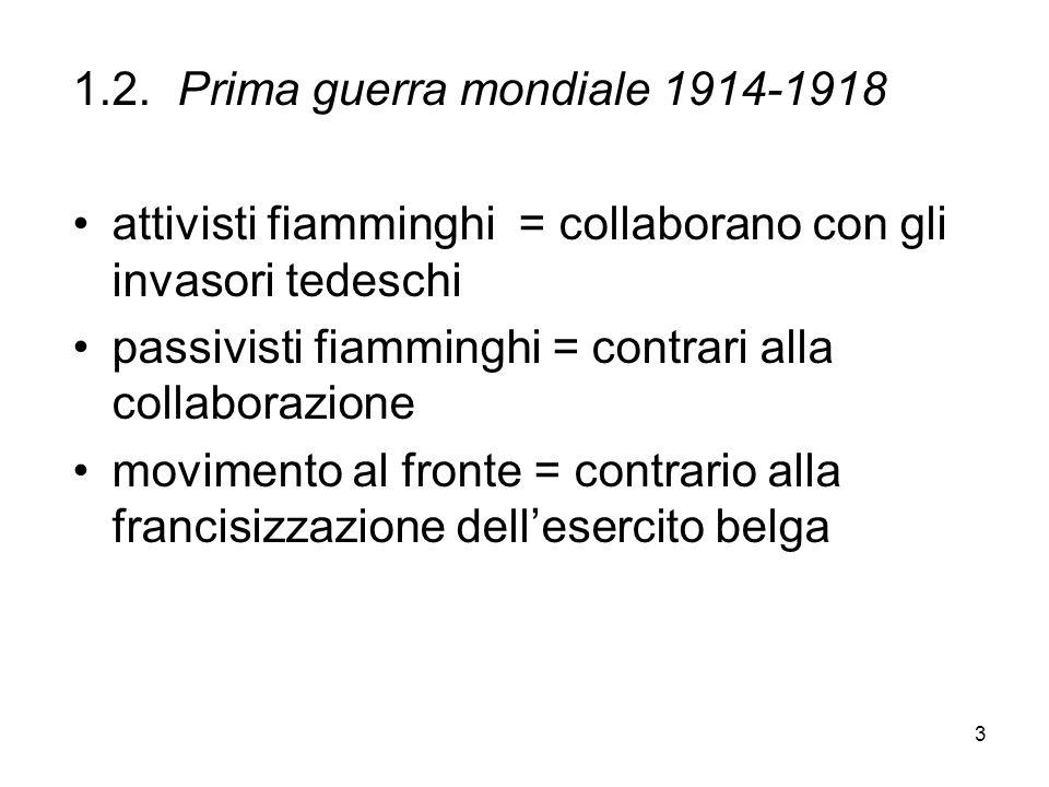 3 1.2.Prima guerra mondiale 1914-1918 attivisti fiamminghi = collaborano con gli invasori tedeschi passivisti fiamminghi = contrari alla collaborazion