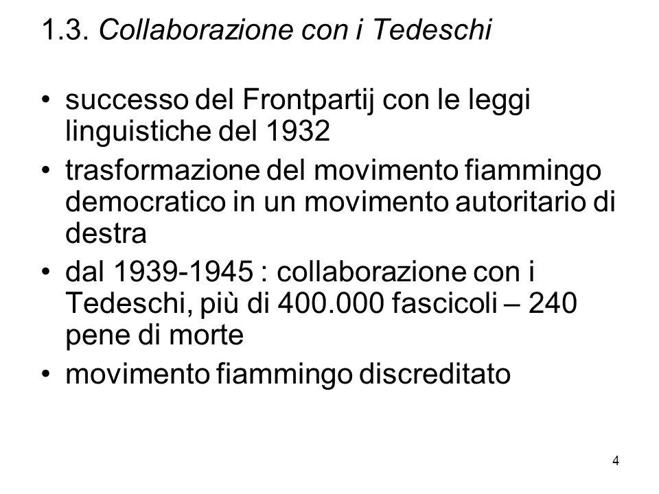 4 1.3. Collaborazione con i Tedeschi successo del Frontpartij con le leggi linguistiche del 1932 trasformazione del movimento fiammingo democratico in