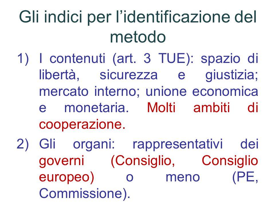 Gli indici per l'identificazione del metodo 1)I contenuti (art.