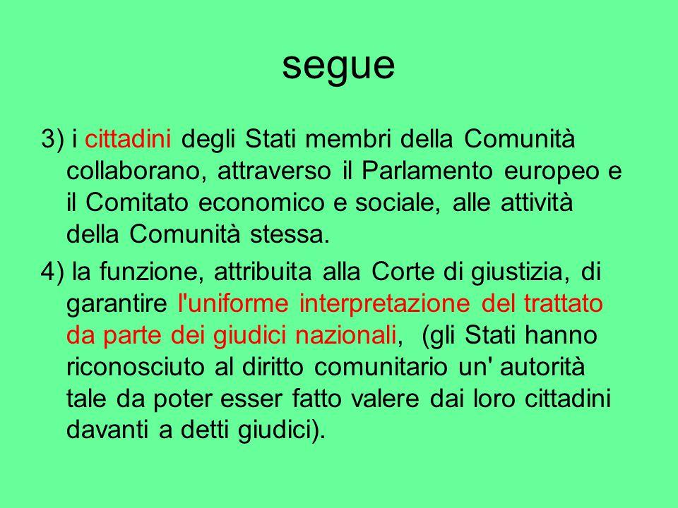 segue 3) i cittadini degli Stati membri della Comunità collaborano, attraverso il Parlamento europeo e il Comitato economico e sociale, alle attività della Comunità stessa.