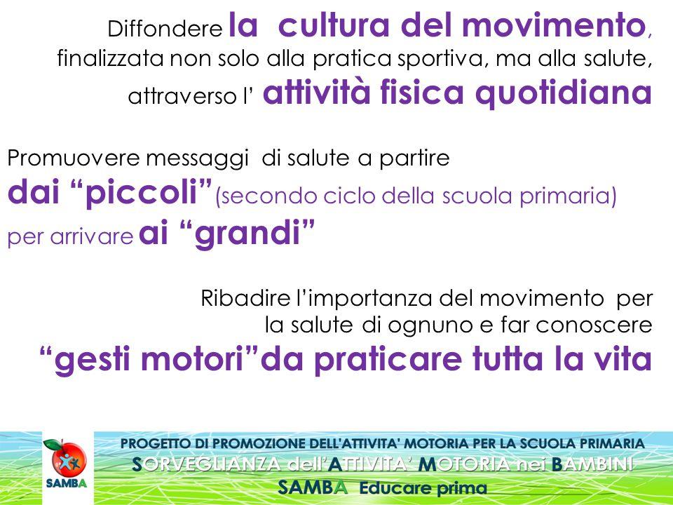 Diffondere la cultura del movimento, finalizzata non solo alla pratica sportiva, ma alla salute, attraverso l' attività fisica quotidiana Promuovere m